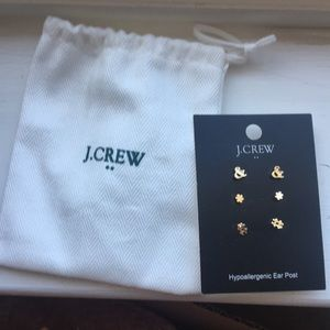 J. Crew Fun Stud Earrings Set w/ Accessory Bag